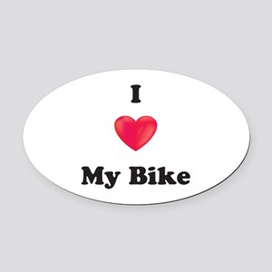 I Love My Bike Oval Car Magnet