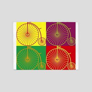 Pop art bicyles 5'x7'Area Rug