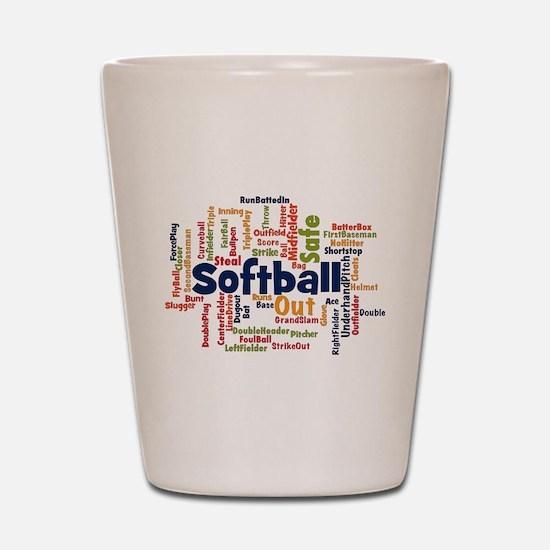 Softball Word Cloud Shot Glass