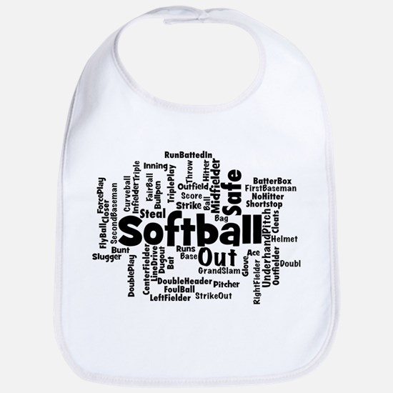 Softball Word Cloud Bib
