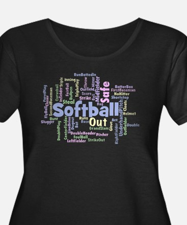 Softball Word Cloud Plus Size T-Shirt