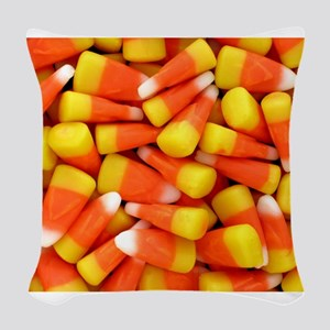Candy Corn Halloween Shirt Woven Throw Pillow
