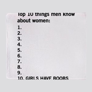10 things men know about women Throw Blanket