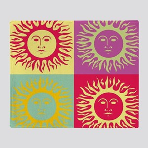Pop art Sun face Throw Blanket