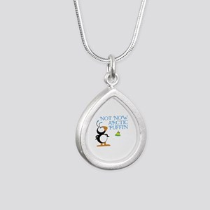 Not Now Arctic Puffin Silver Teardrop Necklace