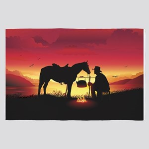 Cowboy and Horse at Sunset 4' x 6' Rug