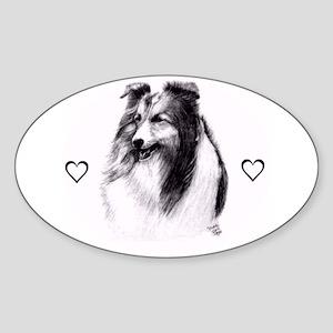 Beautiful Sheltie sketch Oval Sticker