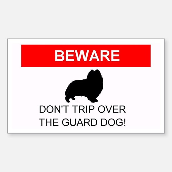 Dont Trip Over the Guard Dog Sheltie Decal