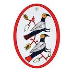 Folk Art Birds Oval Ornament