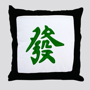 Mahjong Green Dragon Throw Pillow