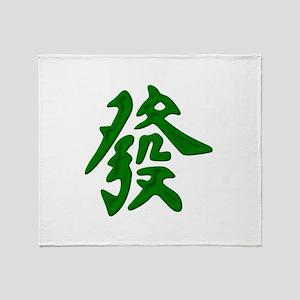 Mahjong Green Dragon Throw Blanket