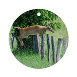 Doe jumps a Fence Ornament (Round)