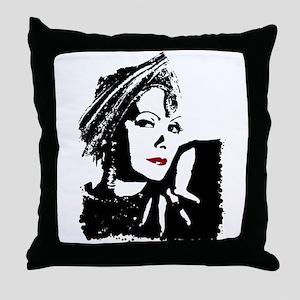 Greta in Black and White Throw Pillow