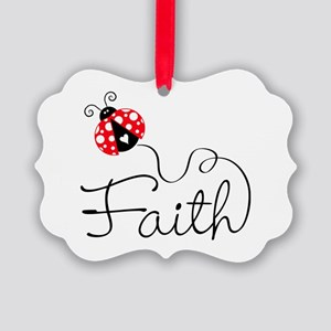 Ladybug Faith Picture Ornament
