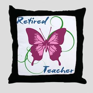 Retired Teacher (Butterfly) Throw Pillow