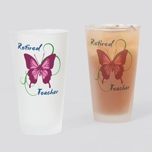 Retired Teacher (Butterfly) Drinking Glass