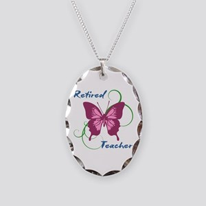 Retired Teacher (Butterfly) Necklace Oval Charm