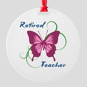 Retired Teacher (Butterfly) Round Ornament