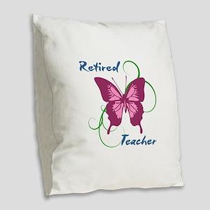 Retired Teacher (Butterfly) Burlap Throw Pillow