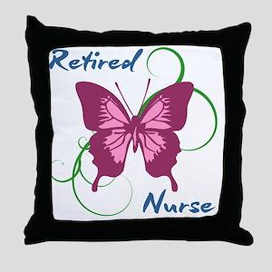 Retired Nurse (Butterfly) Throw Pillow