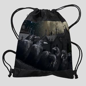 Gothic Crows Drawstring Bag