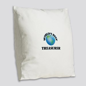 World's Best Treasurer Burlap Throw Pillow