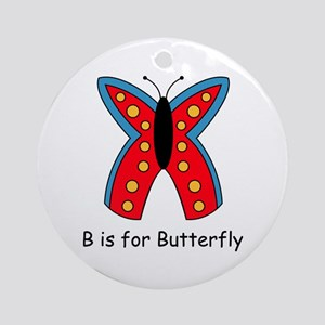 B is for Butterfly Ornament (Round)