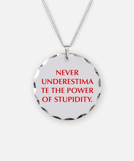 NEVER UNDERESTIMATE THE POWER OF STUPIDITY Necklac