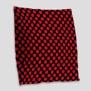 Red Polka Dots Burlap Throw Pillow