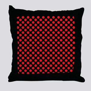 Red Polka Dots Throw Pillow