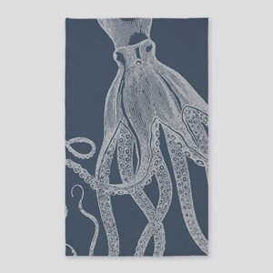 Vintage Octopus illustration in Lovely Ash Blue 3'