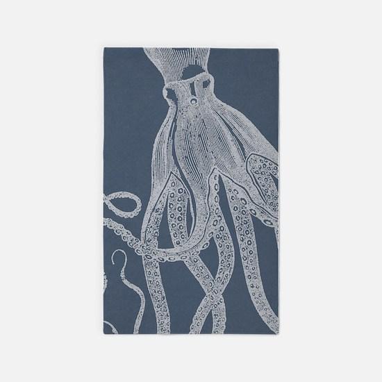 Vintage Octopus illustration in Lovely Ash Blue 3'