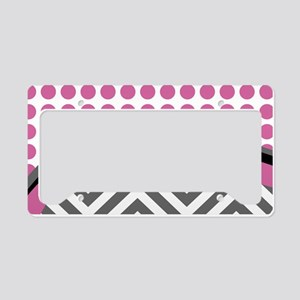 Pink and Grey Chevron Polka D License Plate Holder