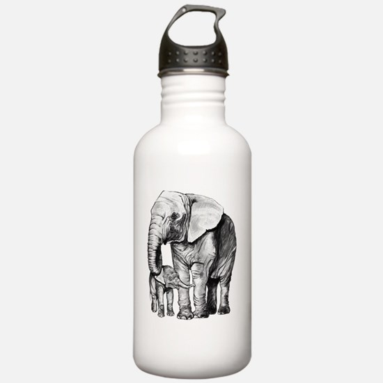 Drawn Elephant Water Bottle