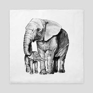 Drawn Elephant Queen Duvet