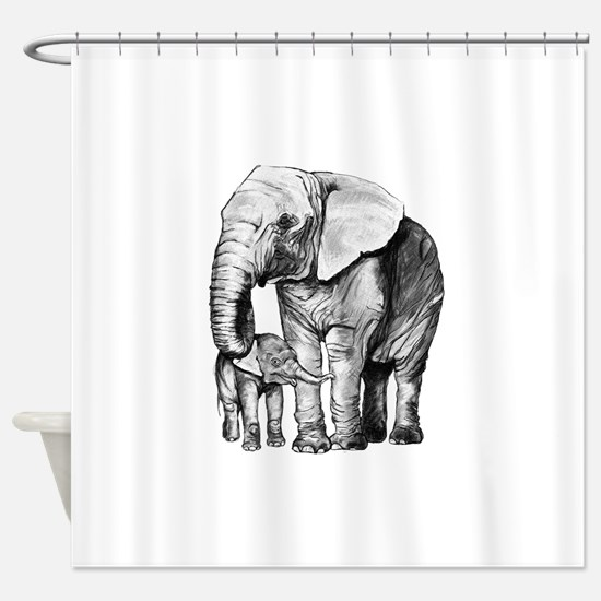 Drawn Elephant Shower Curtain