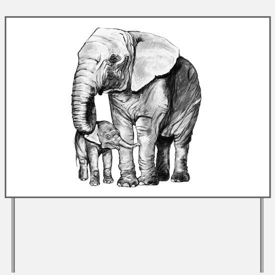 Drawn Elephant Yard Sign