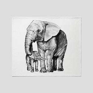 Drawn Elephant Throw Blanket