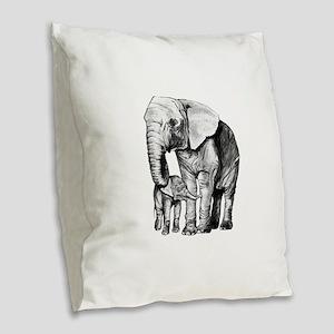 Drawn Elephant Burlap Throw Pillow