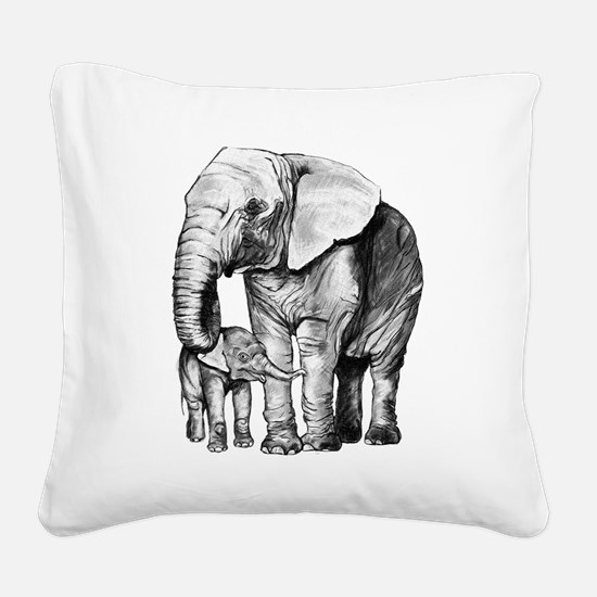 Drawn Elephant Square Canvas Pillow