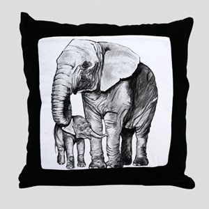 Drawn Elephant Throw Pillow