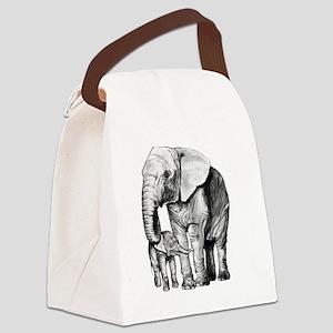 Drawn Elephant Canvas Lunch Bag