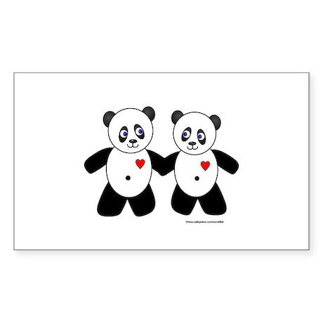 Panda Couple Rectangle Sticker