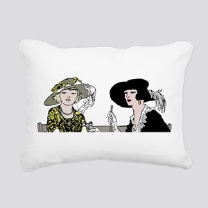Two Ladies in Hats Rectangular Canvas Pillow