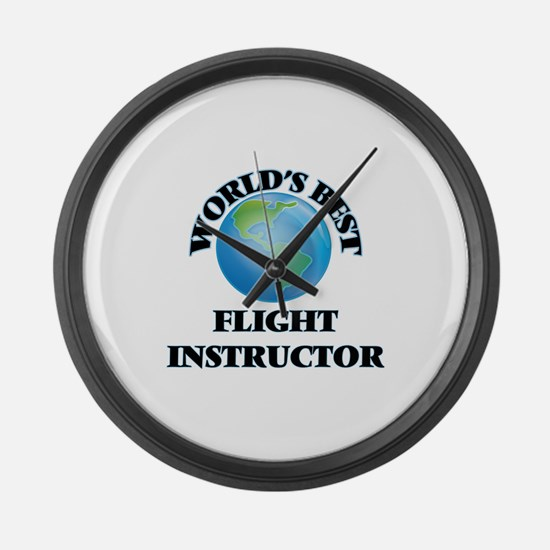 World's Best Flight Instructor Large Wall Clock