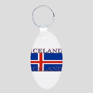 Iceland Aluminum Oval Keychain