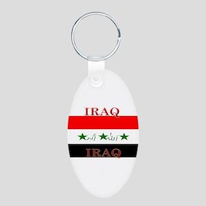 Iraq Aluminum Oval Keychain
