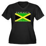 Jamaica Women's Plus Size V-Neck Dark T-Shirt