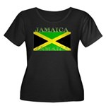 Jamaica Women's Plus Size Scoop Neck Dark T-Sh