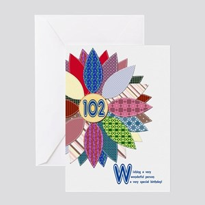 102nd birthday, stitched flower Greeting Cards